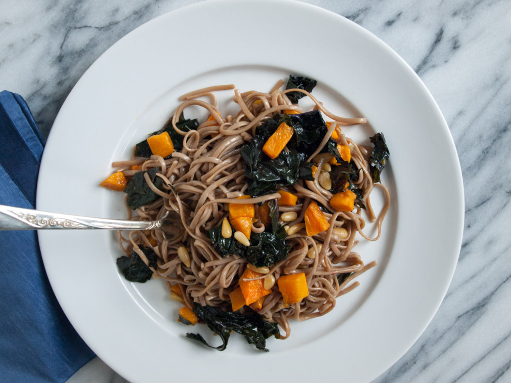 soba with butternut squash, kale, pinenuts